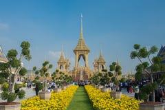 A réplica real do crematório para o rei Bhumibol Adulyadej Pra maio Ru Maat em Sanam Luang para a cerimônia fúnebre real 15 da cr fotografia de stock royalty free