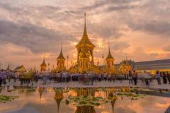 A réplica real do crematório para o rei Bhumibol Adulyadej Pra maio Ru Maat em Sanam Luang para a cerimônia fúnebre real 15 da cr imagem de stock royalty free