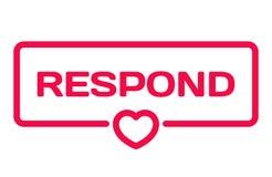 Répondent l'insigne avec l'icône de coeur sur le blanc Bulle de dialogue de mariage Timbre romantique de citations Vecteur plat illustration de vecteur