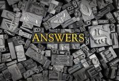 Réponses définies dans des lettres en métal Photographie stock