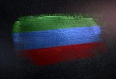 République de drapeau de Dagestan faite de peinture métallique de brosse sur le grunge illustration stock