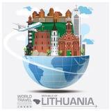 République de voyage et de voyage globaux Infogra de point de repère de la Lithuanie illustration libre de droits