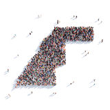 République Democratic arabe de Sahrawi de carte de forme de groupe de personnes Images stock