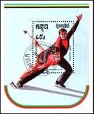 RÉPUBLIQUE DU KAMPUCHEA CAMBODGE - VERS 1989 : le timbre-poste, imprimé dans la République du Kampuchea, montre une paire de pati Photo libre de droits