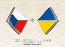 République Tchèque contre l'Ukraine, ligue B, groupe 1 Le football Co de l'Europe illustration stock