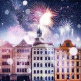 République Tchèque de belles maisons Carte de voeux de photo Images stock