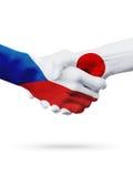 République Tchèque de drapeaux, pays du Japon, concept de poignée de main d'amitié d'association Photographie stock libre de droits