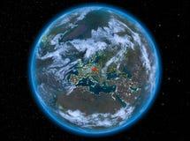 République Tchèque la nuit sur terre Photographie stock libre de droits