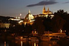 République Tchèque : Prague par nuit Images libres de droits