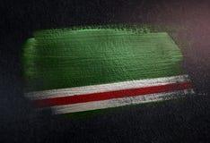 République tchétchène de drapeau d'Ichkeria faite de peinture métallique o de brosse illustration stock