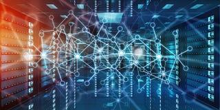 Réseau abstrait sur le rendu du centre de traitement des données 3D de pièce de serveur Images stock