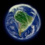 Réseau au-dessus de l'Amérique du Sud illustration libre de droits