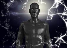 Réseau blanc et mâle noir AI contre le fond et la fusée foncés Photo libre de droits