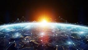 Réseau d'échange de données et global au-dessus du rendu du monde 3D illustration libre de droits