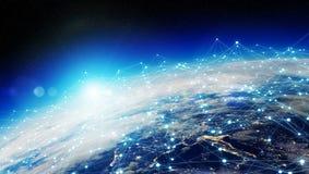 Réseau d'échange de données et global au-dessus du rendu du monde 3D Images libres de droits