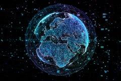 Réseau d'échange de données et global au-dessus de l'illustration du monde 3d illustration de vecteur