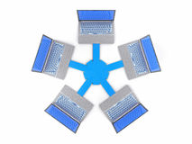 réseau d'isolement par 3D LAN Data Laptops Travail d'équipe Conce de l'information Photo stock