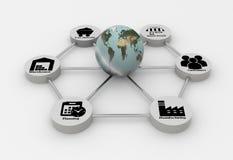 Réseau de chaîne d'approvisionnements avec le globe de la terre Photos stock