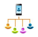 Réseau de connexion de personnes de téléphone illustration libre de droits