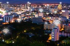 Réseau de connexion réseau de wifi de la Thaïlande Images libres de droits
