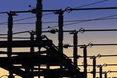Réseau de courant électrique en silhouette Photos libres de droits
