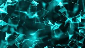 Réseau de Digital géométrique futuriste abstrait de plexus de point bleu et lignes blanches, points, triangles et noeud Réseau in