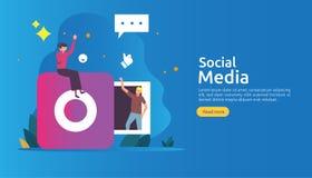 Réseau de médias et concept sociaux d'influencer avec le caractère des jeunes dans le style plat calibre d'illustration pour la p illustration de vecteur