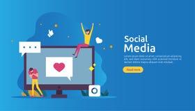 Réseau de médias et concept sociaux d'influencer avec le caractère des jeunes dans le style plat calibre d'illustration pour la p illustration stock