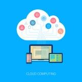 Réseau de nuage de Saas et icône plate d'analytics de dispositif Images libres de droits