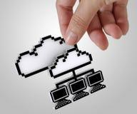 réseau de nuage du Pixel 3d Photo libre de droits