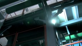 Réseau de pipe-lines de tir d'angle faible sous le plafond d'atelier clips vidéos