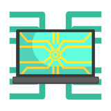 Réseau de système de Lap Top Computer Connected To, une partie de série robotique et informatique futuriste de la Science d'icône Images libres de droits