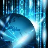 Réseau de télécommunication mondiale sur le fond binaire abstrait illustration de vecteur