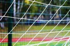 Réseau du football sur l'herbe verte Photographie stock