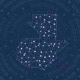Réseau du Guatemala, pays de style de constellation illustration stock
