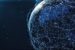 réseau du rendu 3D et d'échange de données au-dessus de la terre de planète dans l'espace Lignes de connexion autour de globe de  Photos stock