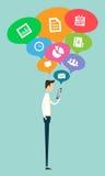 Réseau en ligne de connexion de communication de secteur d'affaires de la téléphonie mobile Image libre de droits