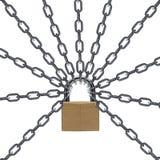 Réseau et cadenas en métal Images stock