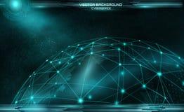 Réseau et d'échange de données au-dessus de la terre de planète dans la station thermale virtuelle de l'espace Photos libres de droits