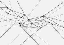 Réseau futuriste de technologie noire et blanche géométrique Photographie stock