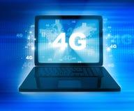 réseau 4G sur l'ordinateur portable Images libres de droits