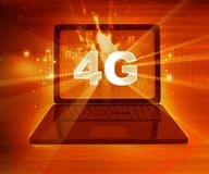 réseau 4G sur l'ordinateur portable Images stock