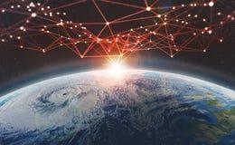 Réseau global à travers la terre de planète Grand concept de données Blockchain illustration libre de droits
