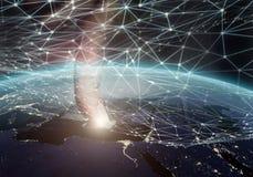 Réseau global éléments du rendu 3D de cette image meublés par la NASA Images libres de droits