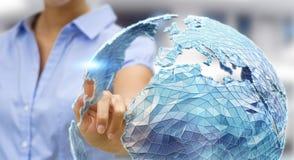 Réseau global émouvant de femme d'affaires sur le renderi de la terre 3D de planète Photographie stock libre de droits