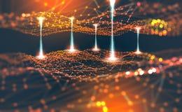 Réseau global Blockchain Illustration de la maille 3D de polygone Réseaux neurologiques et intelligence artificielle