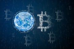 Réseau global de chaîne de blockchain photo stock