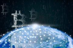 Réseau global de chaîne de blockchain image stock