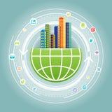 Réseau global de ville Image libre de droits