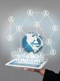 Réseau global et Tablette Images libres de droits